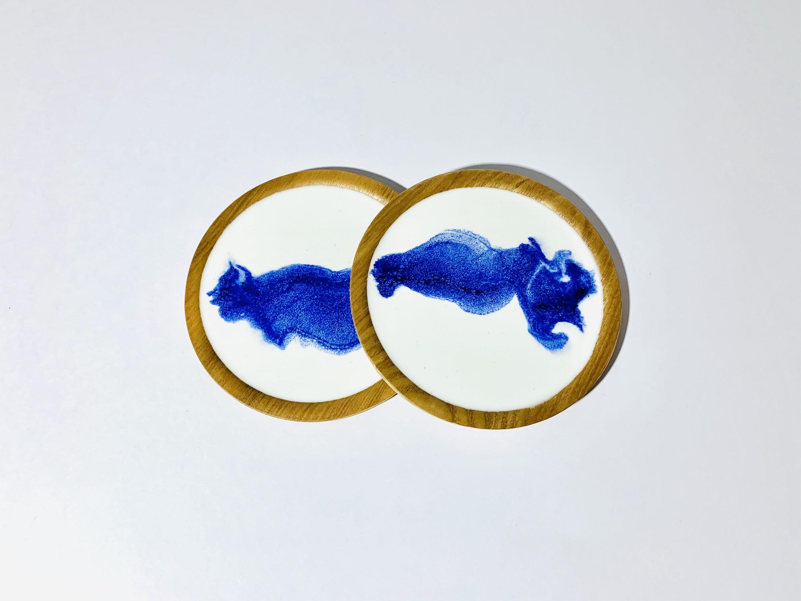 Untersetzer Perlweiss-Blau