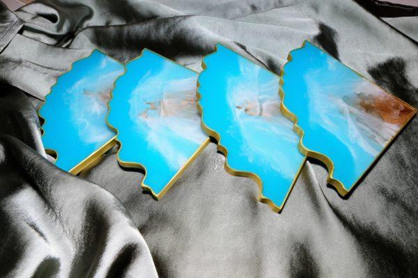 Untersetzer Blau- Gold